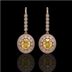 7.65 ctw Canary Citrine & Diamond Victorian Earrings 14K Rose Gold - REF-216W9H