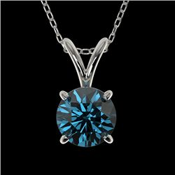 0.78 ctw Certified Intense Blue Diamond Necklace 10k White Gold - REF-54K2Y