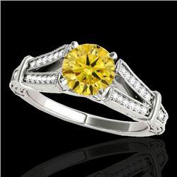 1.25 ctw Certified SI Intense Yellow Diamond Antique Ring 10k White Gold - REF-184W3H