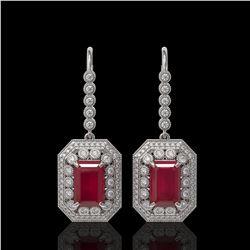14.16 ctw Certified Ruby & Diamond Victorian Earrings 14K White Gold - REF-318W2H