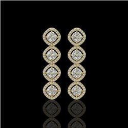 5.28 ctw Cushion Cut Diamond Micro Pave Earrings 18K Yellow Gold - REF-736Y2X