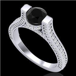 2 ctw Fancy Black Diamond Engagment Micro Pave Ring 18k White Gold - REF-160N2F