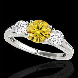 1.75 ctw SI/I Fancy Intense Yellow Diamond 3 Stone Ring 10k White Gold - REF-177N3F