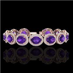 24 ctw Amethyst & Micro Pave VS/SI Diamond Bracelet 10k Rose Gold - REF-360W2H