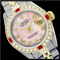 Rolex Ladies Two Tone 14K Gold/ss, Roman Dial with Diam/Ruby Bezel, Sapphire Crystal