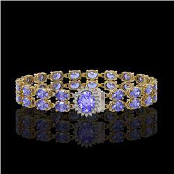 28.22 ctw Tanzanite & Diamond Bracelet 14K Yellow Gold - REF-400W2H