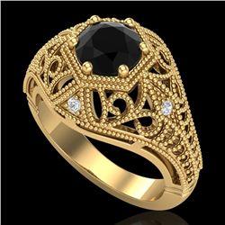 1.07 ctw Fancy Black Diamond Engagment Art Deco Ring 18k Yellow Gold - REF-85R5K