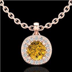 1.1 ctw Intense Fancy Yellow Diamond Art Deco Necklace 18k Rose Gold - REF-167H6R
