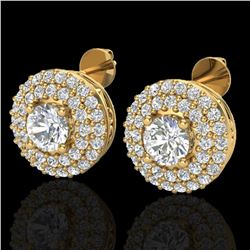 1.20 ctw Micro Pave VS/SI Diamond Earrings DOUBLE 18k Yellow Gold - REF-123M6G