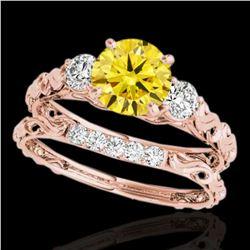 1.35 ctw SI/I Fancy Intense Yellow Diamond 3 Stone Set 10k Rose Gold - REF-177G3W