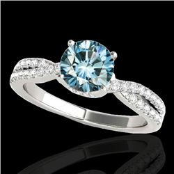 1.3 ctw SI Certified Fancy Blue Diamond Solitaire Ring 10k White Gold - REF-130N9F