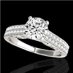 1.91 ctw Certified Diamond Solitaire Antique Ring 10k White Gold - REF-354K5Y