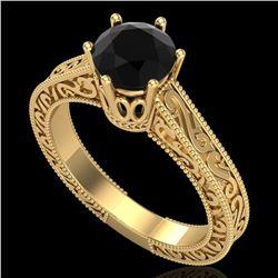 1 ctw Fancy Black Diamond Engagment Art Deco Ring 18k Yellow Gold - REF-105G5W