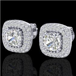 2.16 ctw Micro Pave VS/SI Diamond Earrings Halo 18k White Gold - REF-250Y2X