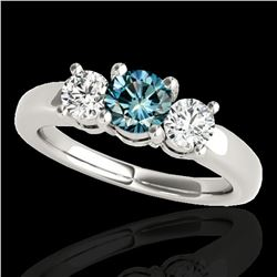 2 ctw SI Certified Fancy Blue Diamond 3 Stone Ring 10k White Gold - REF-218G2W