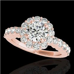 1.75 ctw Certified Diamond Solitaire Halo Ring 10k Rose Gold - REF-211Y4X