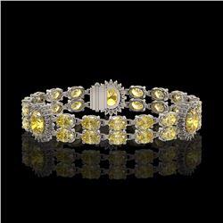 15.74 ctw Citrine & Diamond Bracelet 14K White Gold - REF-254G5W