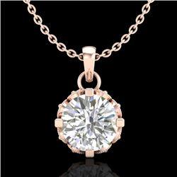 0.85 ctw VS/SI Diamond Solitaire Art Deco Stud Necklace 18k Rose Gold - REF-138H4R