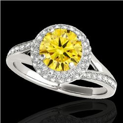 1.6 ctw Certified SI/I Fancy Intense Yellow Diamond Ring 10k White Gold - REF-204R5K