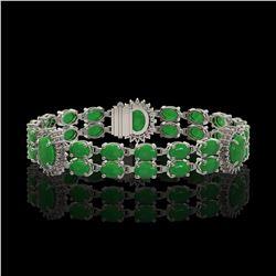 14.05 ctw Jade & Diamond Bracelet 14K White Gold - REF-254A5N