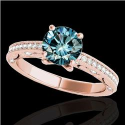 1.25 ctw SI Certified Blue Diamond Solitaire Antique Ring 10k Rose Gold - REF-122K8Y