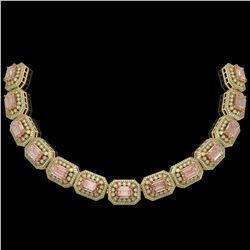117.15 ctw Morganite & Diamond Victorian Necklace 14K Yellow Gold - REF-4065W3H