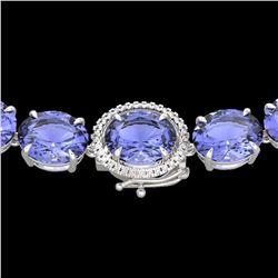 170 ctw Tanzanite & Diamond Micro Eternity Necklace 14k White Gold - REF-3163Y6X