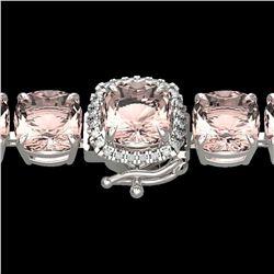 35 ctw Morganite & Micro Pave Diamond Bracelet 14k White Gold - REF-494H4R