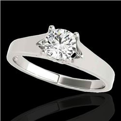 1 ctw Certified Diamond Solitaire Ring 10k White Gold - REF-184F3M