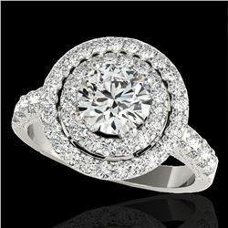 3 ctw Certified Diamond Solitaire Halo Ring 10k White Gold - REF-422W8H