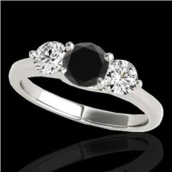 2 ctw Certified VS Black Diamond 3 Stone Solitaire Ring 10k White Gold - REF-163A6N