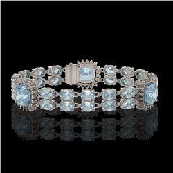 17.19 ctw Aquamarine & Diamond Bracelet 14K White Gold - REF-289M3G