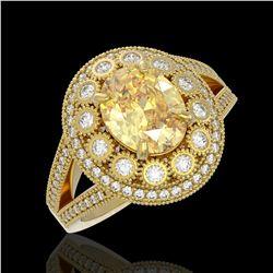 3.75 ctw Canary Citrine & Diamond Victorian Ring 14K Yellow Gold - REF-129Y3X