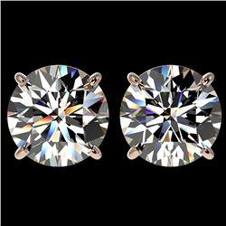 4.04 ctw Certified Diamond Stud Earrings 10k Rose Gold - REF-862A5N