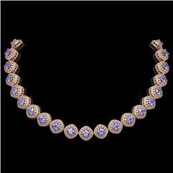 83.82 ctw Tanzanite & Diamond Victorian Necklace 14K Rose Gold - REF-2511A8N