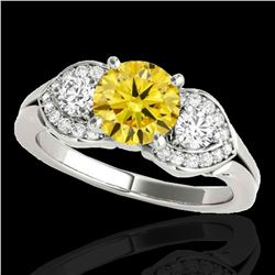 1.7 ctw SI/I Fancy Intense Yellow Diamond 3 Stone Ring 10k White Gold - REF-252H3R