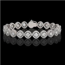 13.06 ctw Cushion Cut Diamond Micro Pave Bracelet 18K White Gold - REF-1690F2M