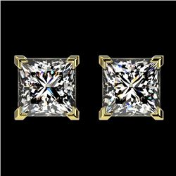 2 ctw Certified VS/SI Quality Princess Diamond Stud Earrings 10k Yellow Gold - REF-478W6H