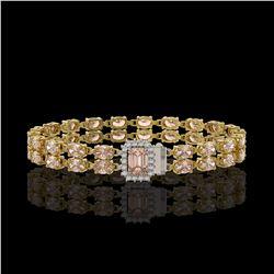 16.35 ctw Morganite & Diamond Bracelet 14K Yellow Gold - REF-236Y4X