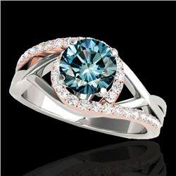 1.3 ctw SI Certified Fancy Blue Diamond Bypass Ring 10k 2Tone Gold - REF-133F6M