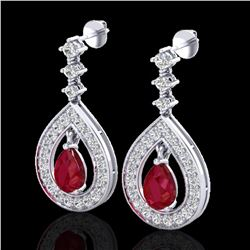 2.25 ctw Ruby & Micro Pave VS/SI Diamond Earrings 14k White Gold - REF-105F5M