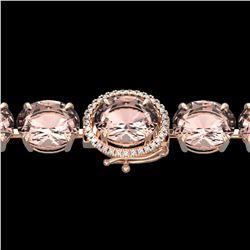 67 ctw Morganite & Micro Pave Diamond Bracelet 14k Rose Gold - REF-981G8W