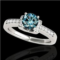 1.11 ctw SI Certified Fancy Blue Diamond Solitaire Ring 10k White Gold - REF-117R3K