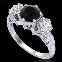 1.66 ctw Fancy Black Diamond Art Deco 3 Stone Ring 18k White Gold - REF-123R3K