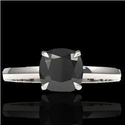 3 ctw Cushion Cut Black Diamond Solitaire Ring 18k White Gold - REF-107F3M