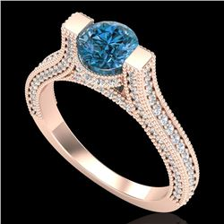 2 ctw Intense Blue Diamond Engagment Micro Pave Ring 18k Rose Gold - REF-200R2K