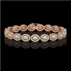 9.5 ctw Opal & Diamond Micro Pave Halo Bracelet 10k Rose Gold - REF-251Y8X