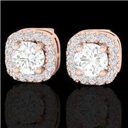 0.75 ctw Micro Pave VS/SI Diamond Earrings Designer Halo 14k Rose Gold - REF-87A3N