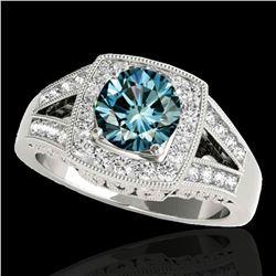 1.65 ctw SI Certified Fancy Blue Diamond Halo Ring 10k White Gold - REF-175W2H