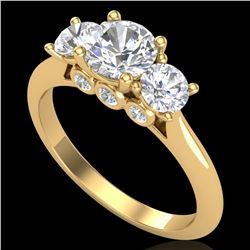 1.5 ctw VS/SI Diamond Solitaire Art Deco 3 Stone Ring 18k Yellow Gold - REF-236A4N